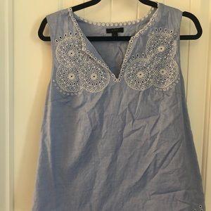 Light blue J crew sleeveless blouse